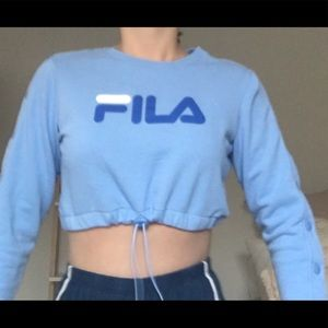 Fila cropped, drawstring, sweatshirt. Never worn.